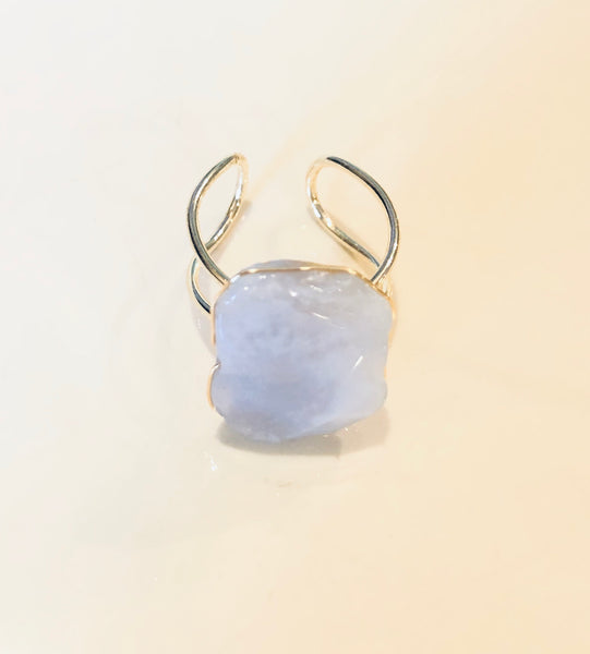 #15 Milky Stone Ring Adjustable
