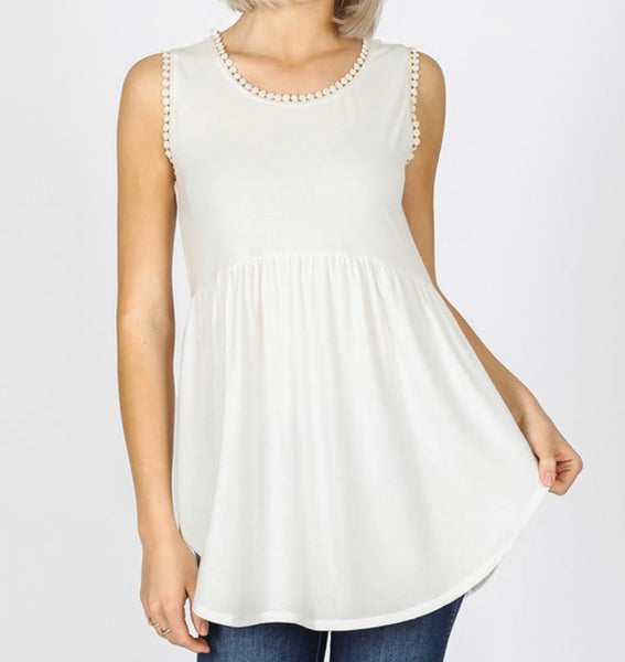 #1328 White Ivory Baby Doll Top
