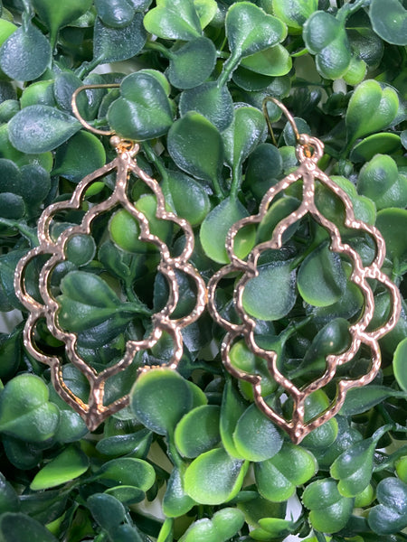 #1658 Gold Cut Out Hammered Earrings