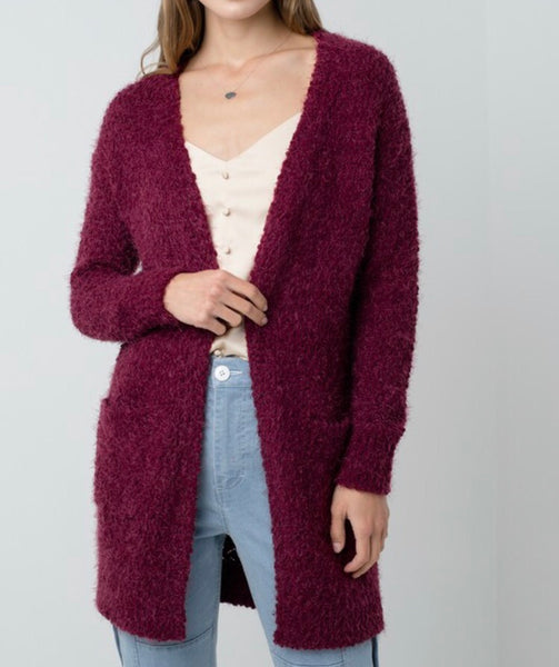 Wine Ultra Soft Cardigan Sweater