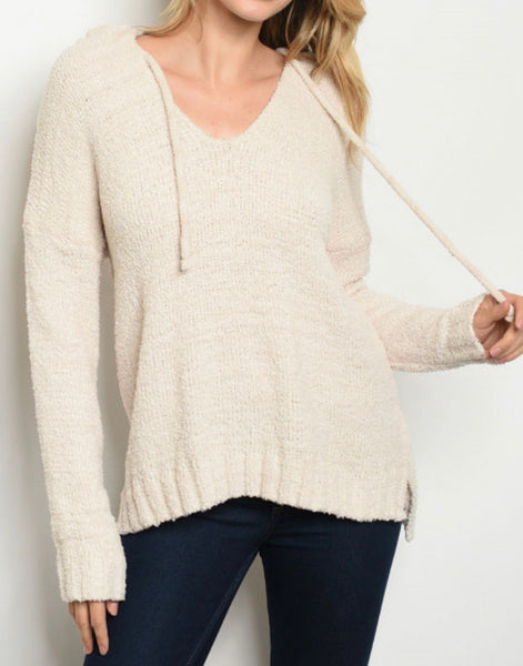 #751 Cream Cozy Hooded Sweater