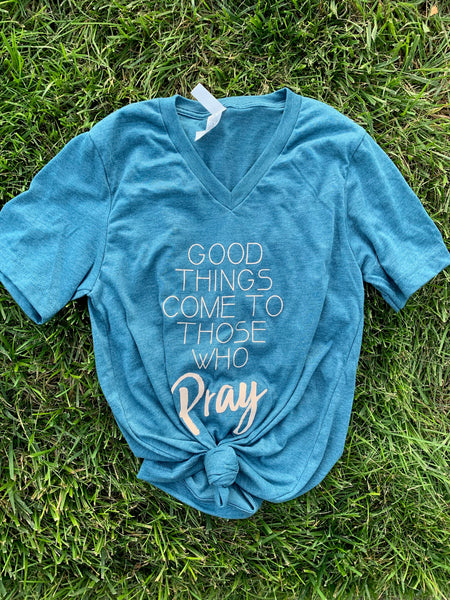 Pray Teal Graphic Tee