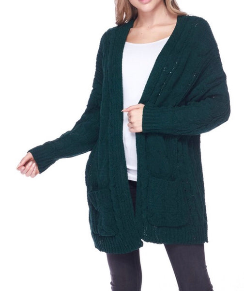 Emerald Green Cable Knit Cardi