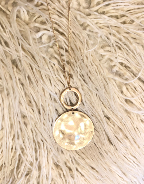#1042 Hammered Gold Long Necklace