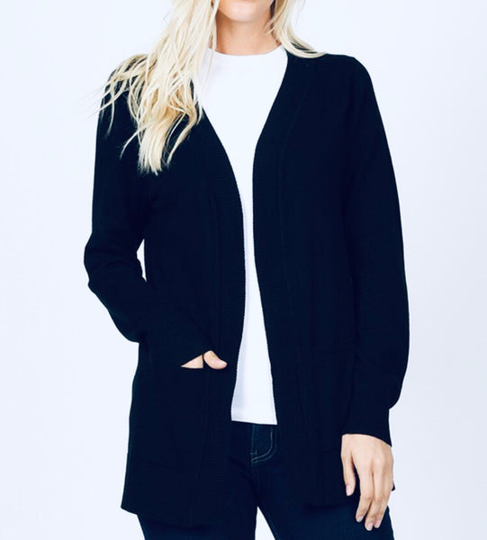 #610 Black Pocket Cardigan