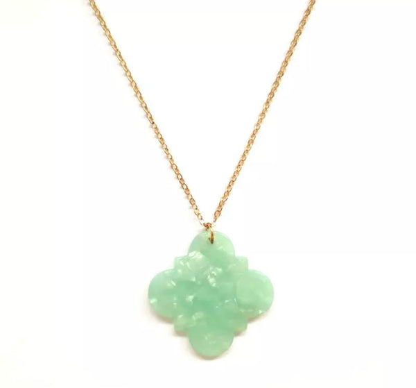 #1775 Minty Marble Long Necklace
