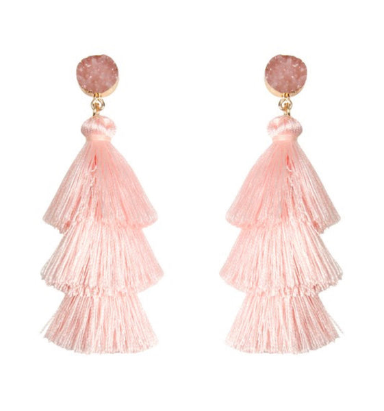 #1044 Pink Druzy Fringe Earrings