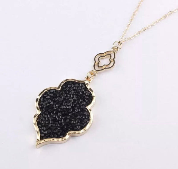 Black Stone Long Necklace