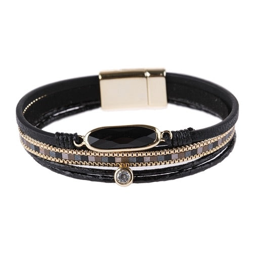 #2410 Jeweled Magnetic Black Bracelet