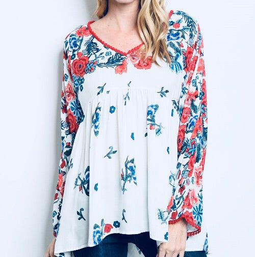 #143 Tomato Floral Top