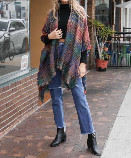 Emerald Autumn Plaid Poncho