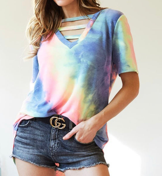 #1776 Caged Blue/Pink/Lime Tie Dye Top