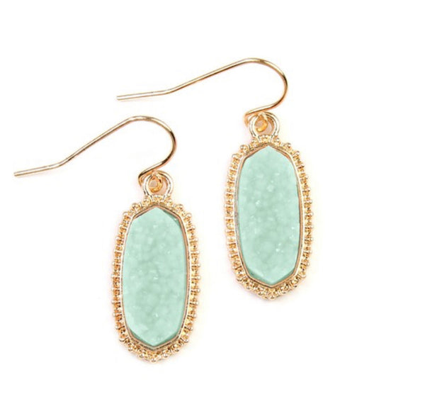 #1050 Mint Druzy Drop Earrings