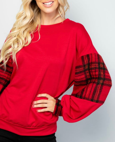 Holiday Red Balloon Sleeve Top