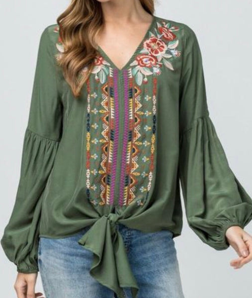 Green Or Rust Embroidered Top