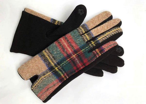 #828 Plaid Gloves - Taupe