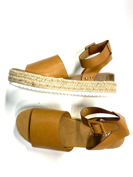#1637 Espadrille Cognac Flat Wedge Sandals