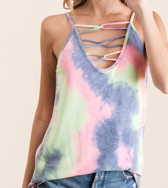 #1920 Laguna Tide Criss Cross Tie Dye Top