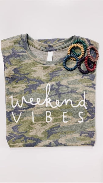 #2283 Weekend Vibes Camo Graphic Tee