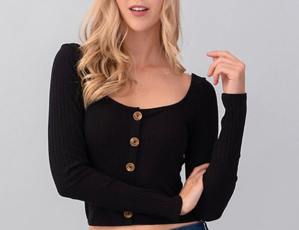 Black Button Cropped L/S Top