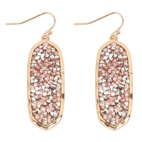#2309 Rose Gold Sparkle Drop Earrings