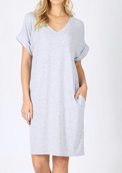 #400 Gray Tee Shirt Dress