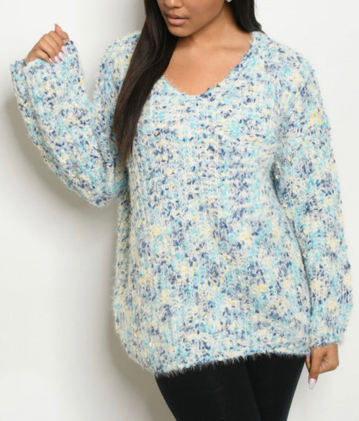 #862  Ivory Blue Confetti Sweater