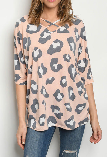 #1301 - Peach/Gray Leopard Top