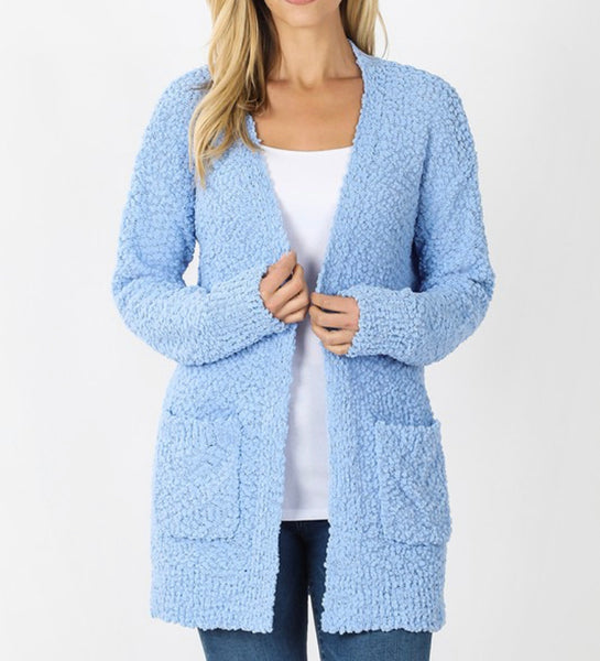 #850 Powder Blue Popcorn Cardigan