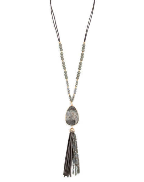 #17 Gray Stone Tassel Necklace