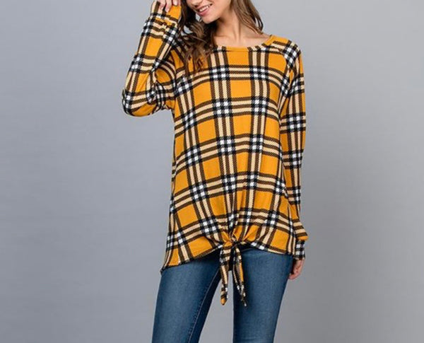 Mustard Black Plaid Top