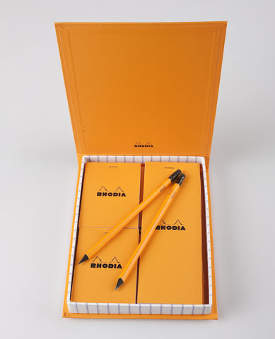 RHODIA ESSENTIALS GIFT SET, 4 PADS + 2 PENCILS