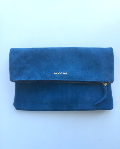 Lapis Lazulli Blue Suede Fold Over Clutch