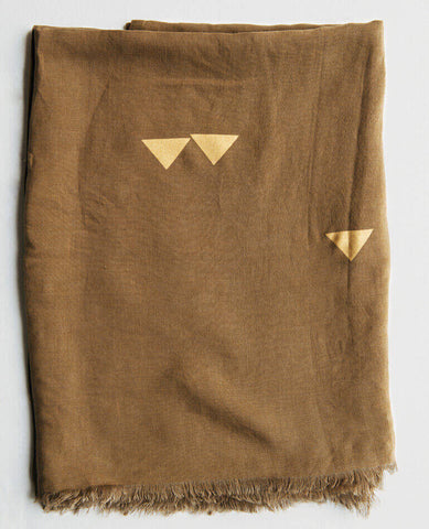 LINEN THROW/TABLECLOTH, METALLIC WITH TRIANGLES