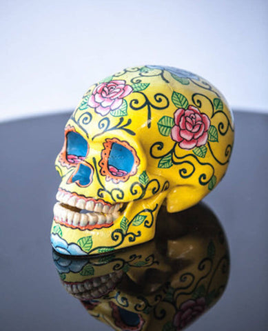 YELLOW ROSE LOTUS POD SKULL