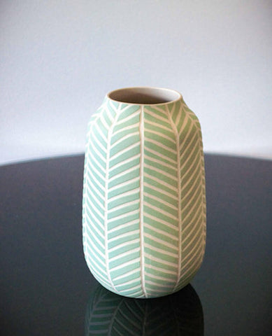CHEVRON VASE - SPEARMINT