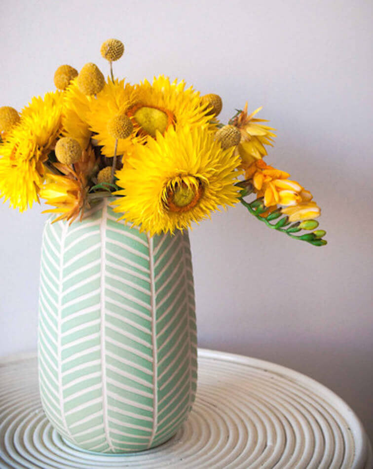 MILLY AND EUGENE | CHEVRON VASE - SPEARMINT | BackstreetShopper.com.au