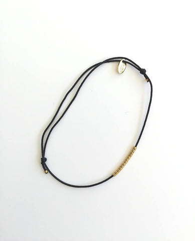 Black Thread and Gold Beads Bracelet