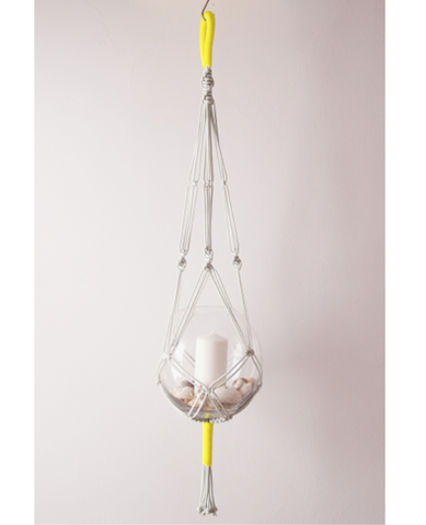 Macrame plant hangers - Neon Yellow + Light Grey