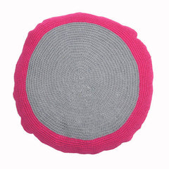 Pink Grey Crocheted Cushion | Taylor + Cloth | BackstreetShopper.com.au