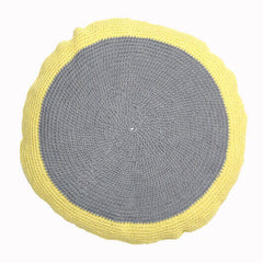 Yellow and Grey Crocheted Cushion | Taylor + Cloth | BackstreetShopper.com.au