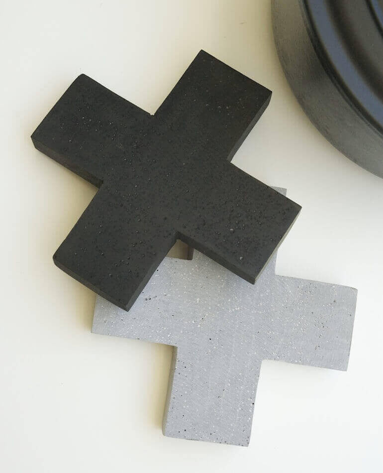 Zakkia | Cross Concrete Trivet - Black | BackstreetShopper.com.au