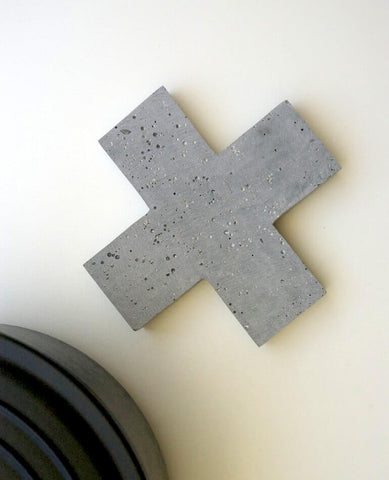 Zakkia | Cross Concrete Trivet - Natural | BackstreetShopper.com.au