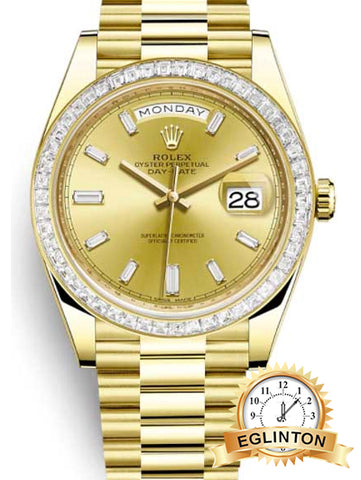 Rolex Oyster Perpetual President Day-Date 18k Yellow Gold & Diamonds Unisex Watch, 228398 TBR V