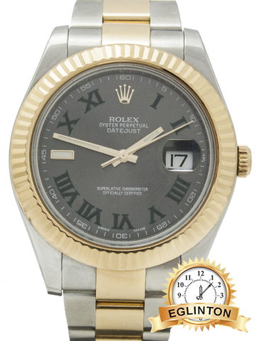 BY APPOINTMENT ONLY - Rolex Datejust II Grey Roman Dial 18kt Yellow Gold Bezel Two Tone Oyster Bracelet Men's Watch 116333GYRO