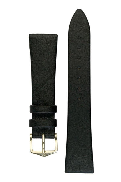 Hirsch DIAMOND CALF Open Ended Calf Leather Watch Strap in BLACK