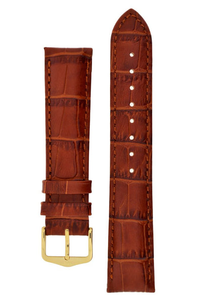 Hirsch DUKE Alligator Embossed Leather Watch Strap in GOLD BROWN