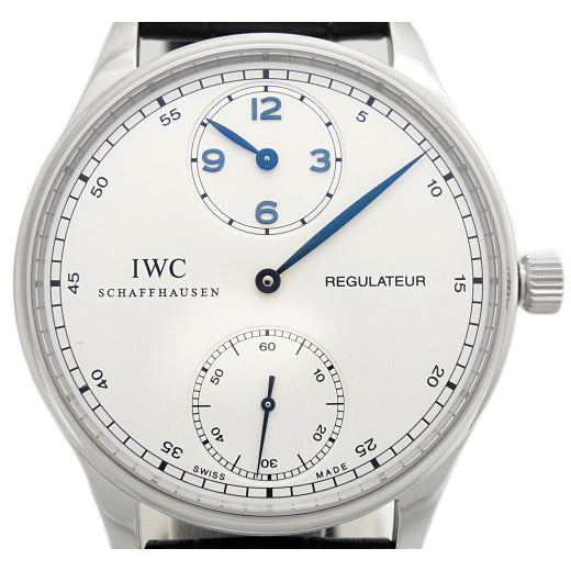 IWC Portuguese regulator IW 544401 men's hand-wound scale back Silver Dial Box & Paper