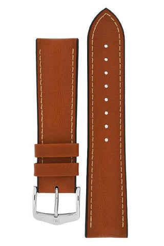 Hirsch JAMES Calf Leather Performance Watch Strap in GOLD BROWN