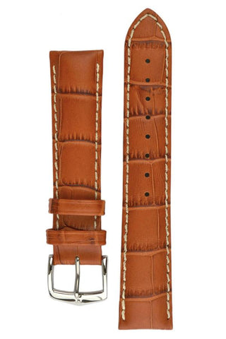 Hirsch MODENA Alligator Embossed Leather Watch Strap in HONEY